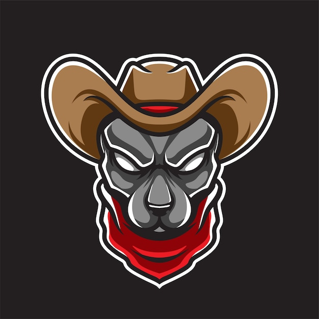 Logotipo da cow boy dog head Vetor Premium