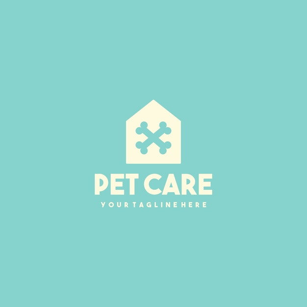 Logotipo da creative pet clinic house Vetor Premium
