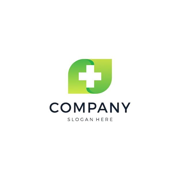 Logotipo da cruz médica folha Vetor Premium