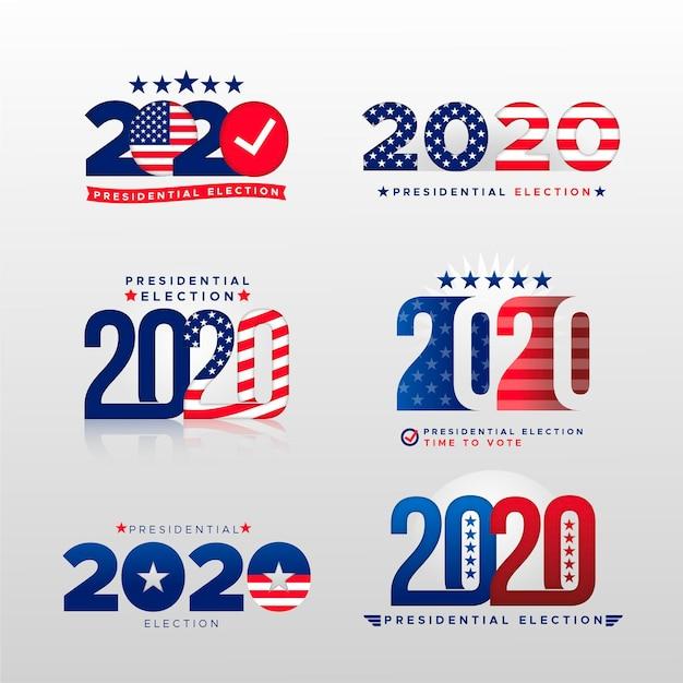 Logotipo da eleição presidencial dos eua em 2020 Vetor Premium