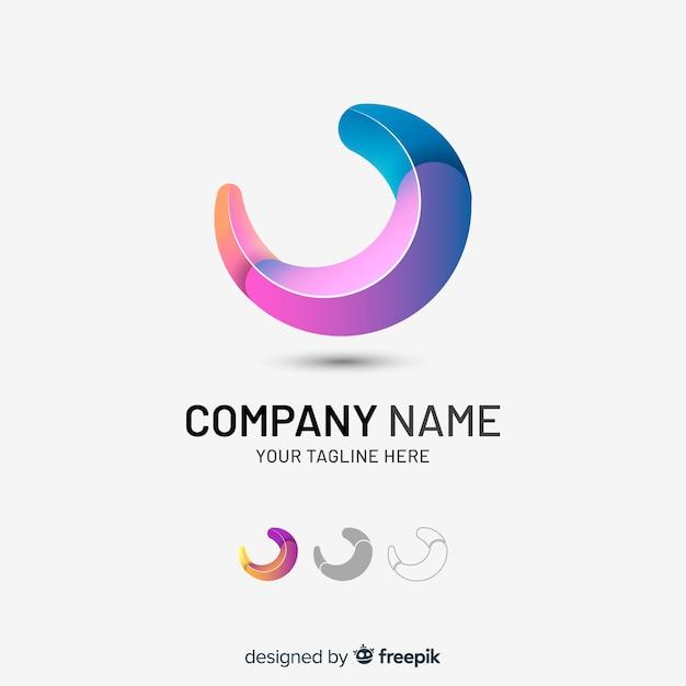 Logotipo da empresa abstrata tridimensional gradiente Vetor grátis