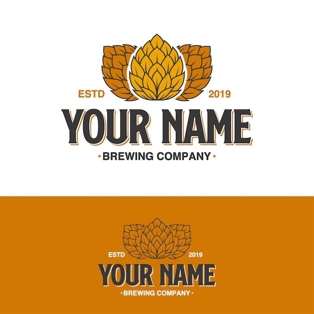 Logotipo da empresa brewing hop Vetor Premium