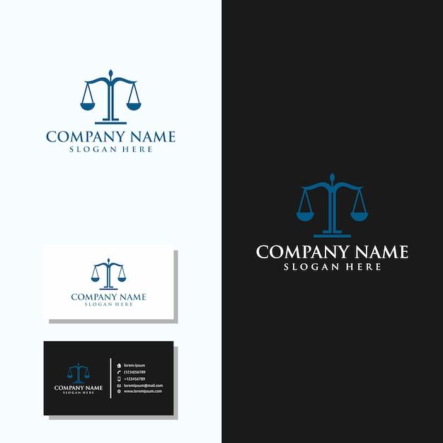 Logotipo da empresa de advocacia com design de cartão de visita Vetor Premium