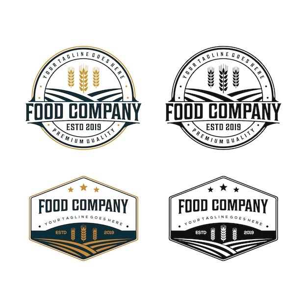 Logotipo da empresa de alimentos orgânicos Vetor Premium