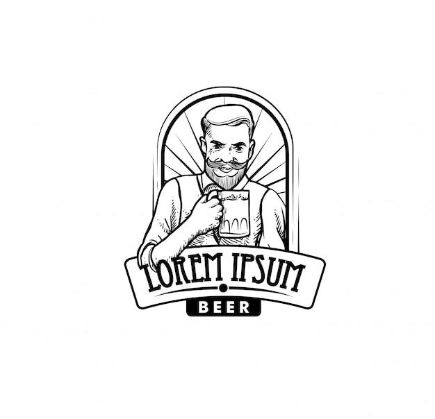Logotipo da empresa de cerveja Vetor Premium