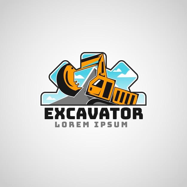 Logotipo da empresa de construção de escavadeiras Vetor Premium