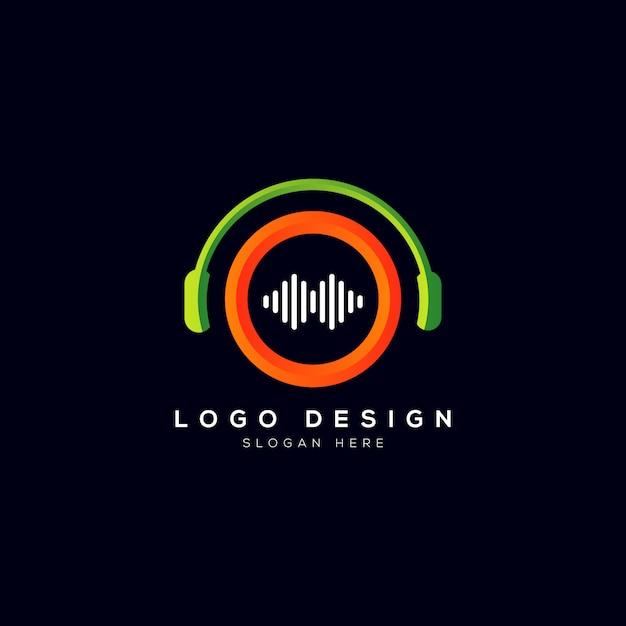 Logotipo da empresa de música com fone de ouvido Vetor Premium