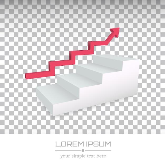 Logotipo da empresa mínima criativa, seta sobre escadas Vetor Premium