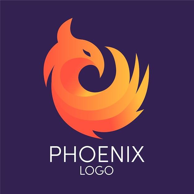 Logotipo da empresa minimalista pássaro phoenix Vetor Premium