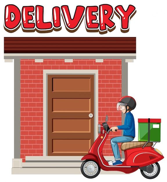 Logotipo da entrega com o homem da bicicleta ou correio Vetor grátis