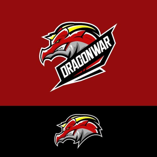 Logotipo da equipe de esportes-e com dragão Vetor Premium