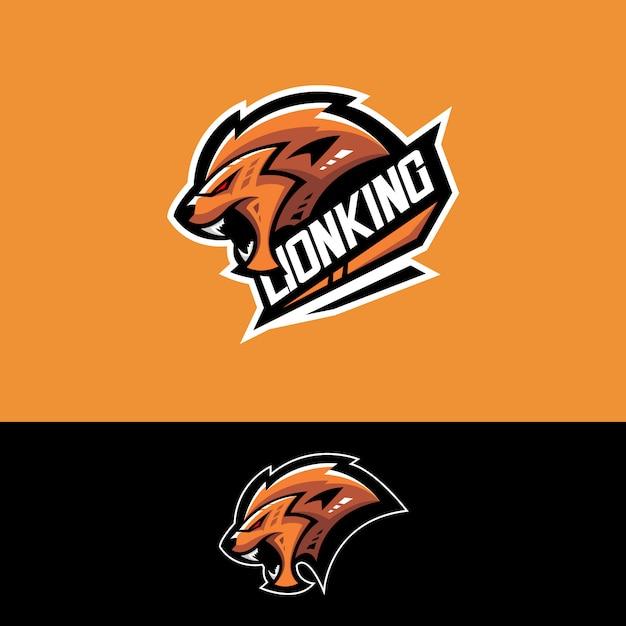 Logotipo da equipe de esportes-e com leão Vetor Premium