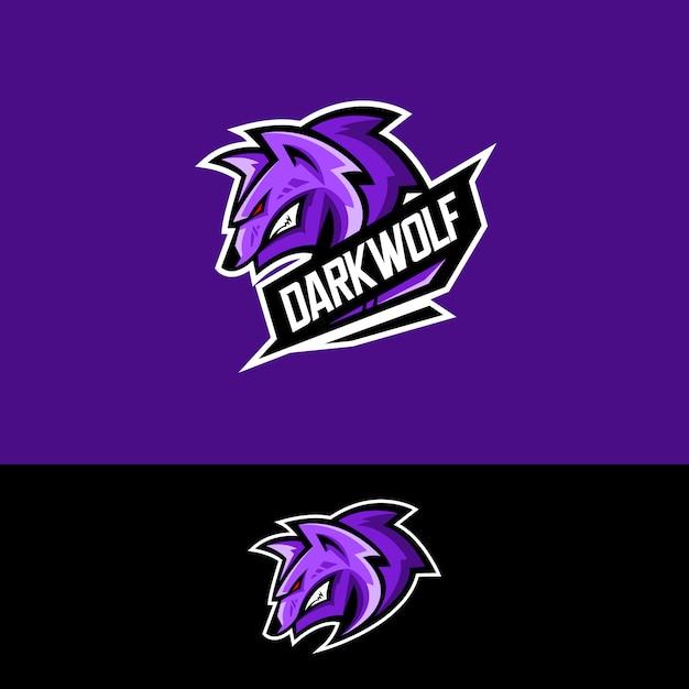 Logotipo da equipe de esportes-e com lobo Vetor Premium