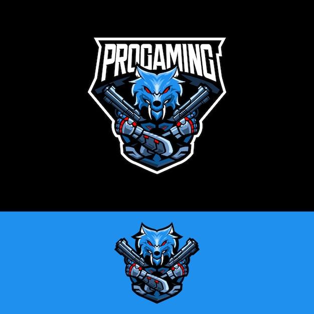 Logotipo da equipe de esportes-e com revólver de lobo Vetor Premium