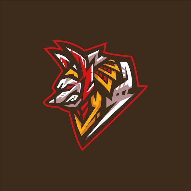 Logotipo da equipe de esportes eletrônicos com anubis Vetor Premium