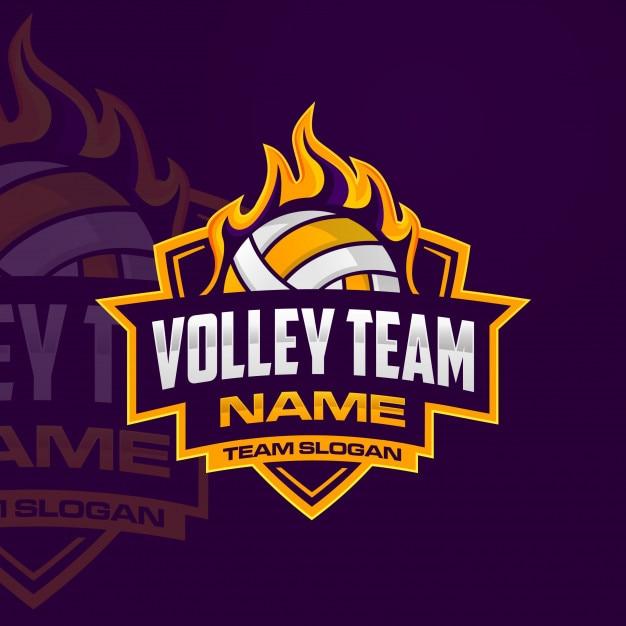 Logotipo da equipe de vôlei Vetor Premium