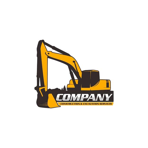 Logotipo da escavadeira Vetor Premium