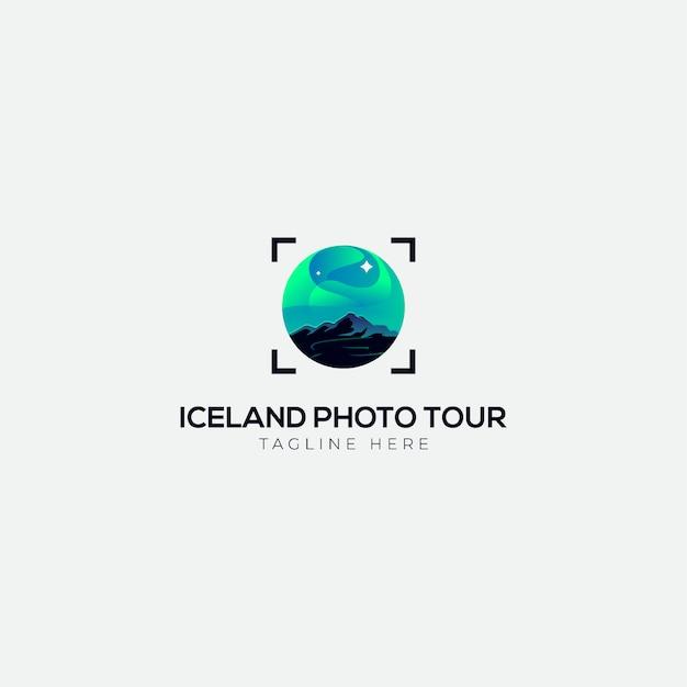 Logotipo da excursão da foto da luz de islândia Vetor Premium