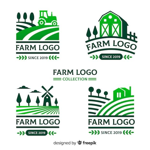 Logotipo da fazenda collectio Vetor Premium