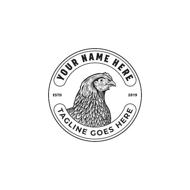 Logotipo da fazenda de galinhas Vetor Premium