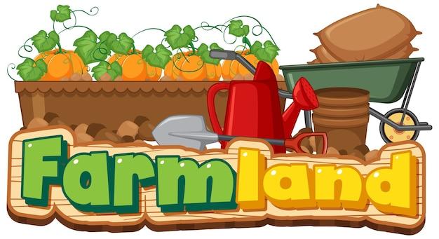 Logotipo da fazenda ou banner com ferramentas de jardinagem isoladas no fundo branco Vetor grátis