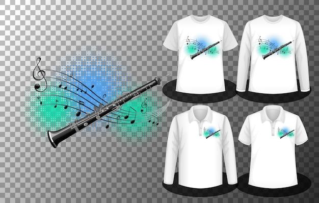 Logotipo da flauta com notas musicais com conjunto de diferentes camisas com tela do logotipo da flauta com notas musicais nas camisetas Vetor grátis