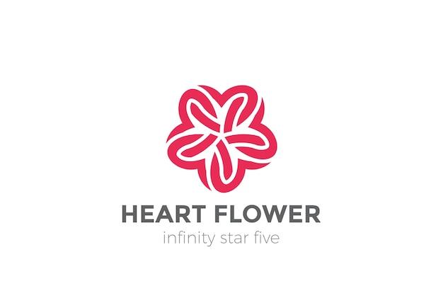 Logotipo da flor da estrela do coração isolado no branco Vetor grátis