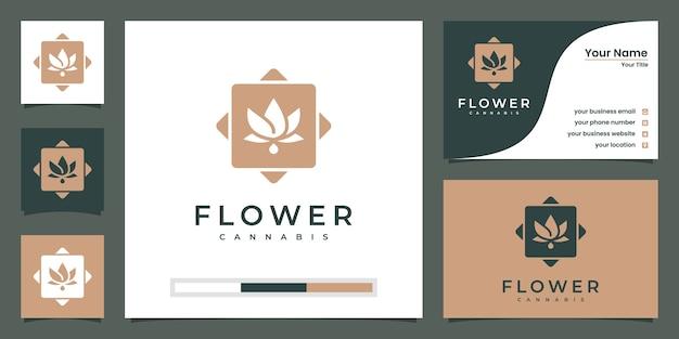 Logotipo da flor de lótus. centro de ioga, spa, logotipo de luxo do salão de beleza. design de logotipo e cartão de visita. Vetor Premium