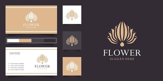 Logotipo da flor de lótus criativa e cartão de visita Vetor Premium