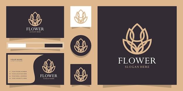Logotipo da flor de lótus de estilo linear criativo Vetor Premium