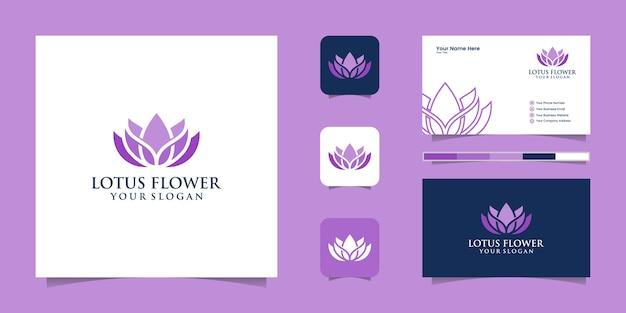 Logotipo da flor de lótus e cartão de visita Vetor Premium