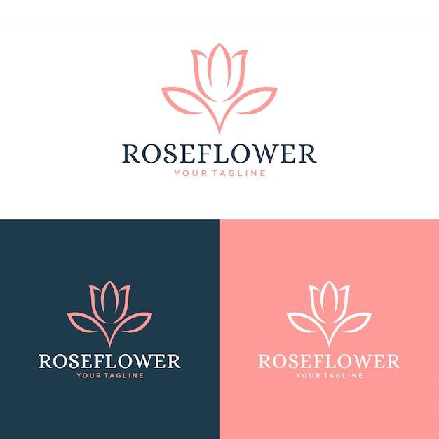 Logotipo da flor rosa e conceito de design do ícone. Vetor Premium