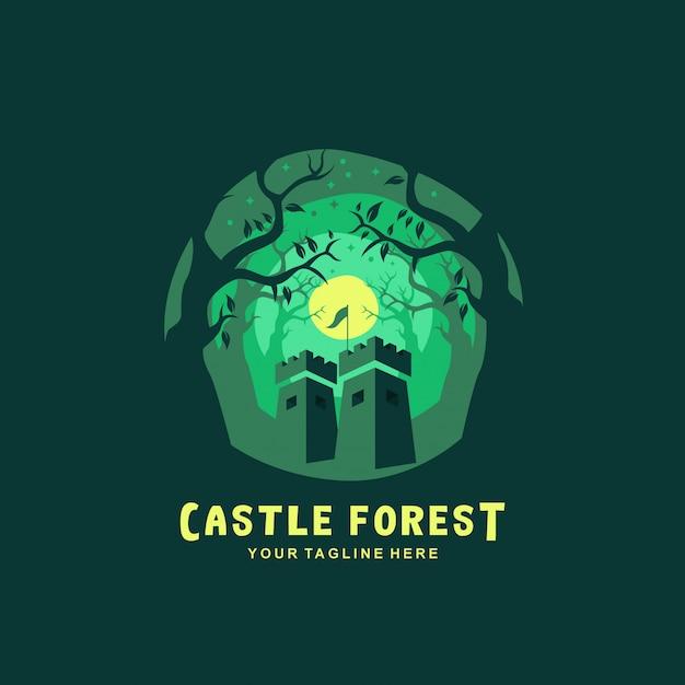Logotipo da floresta castelo com design plano Vetor Premium