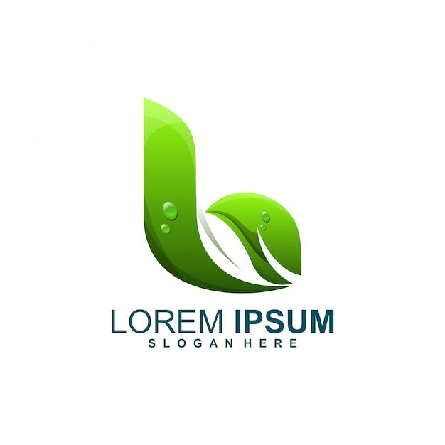 Logotipo da folha b Vetor Premium