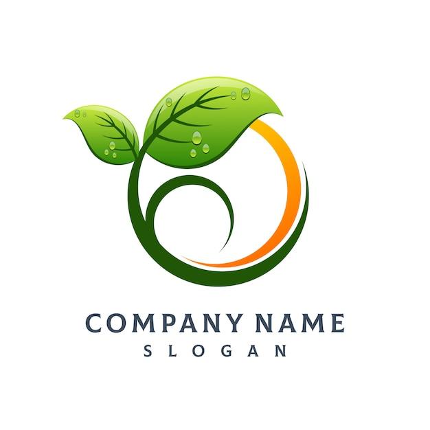Logotipo da folha da árvore Vetor Premium