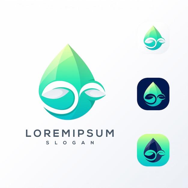 Logotipo da folha de água Vetor Premium
