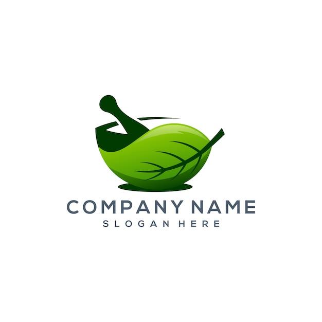Logotipo da folha de ervas Vetor Premium