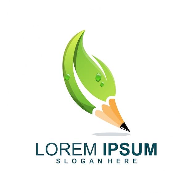 Logotipo da folha do lápis Vetor Premium
