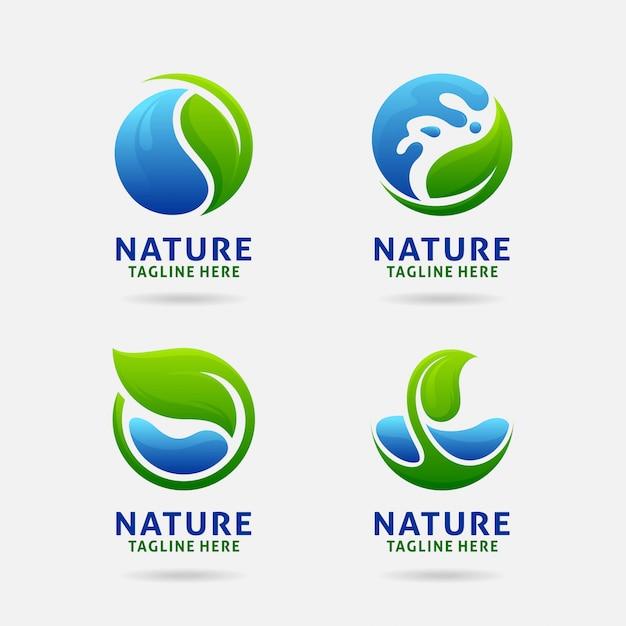 Logotipo da folha e da água da natureza Vetor Premium