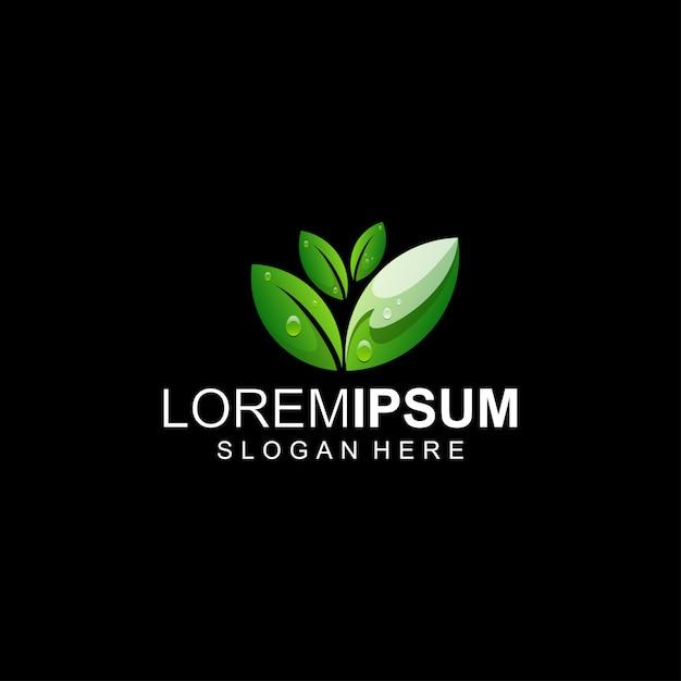 Logotipo da folha verde Vetor Premium