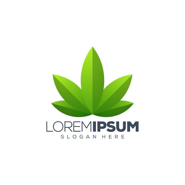 Logotipo da folha Vetor Premium