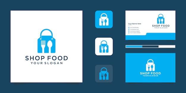 Logotipo da food shop com sacola de compras, espaço negativo, garfo e colher e cartão de visita inspirado Vetor Premium