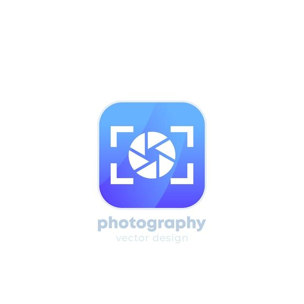 Logotipo da fotografia com câmera Vetor Premium