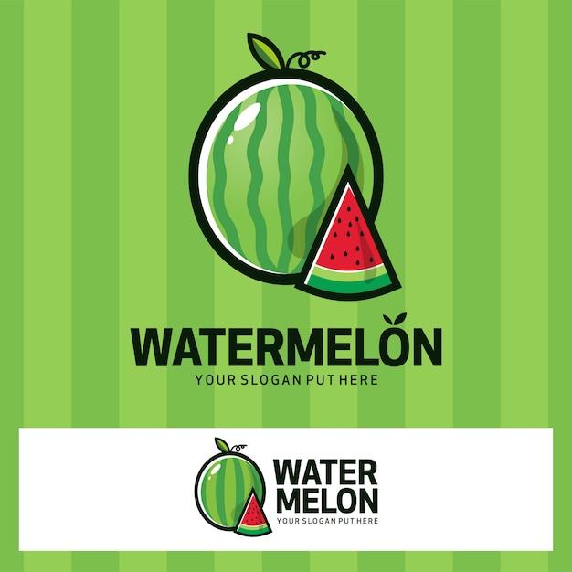 Logotipo da fruta de waternelon Vetor Premium