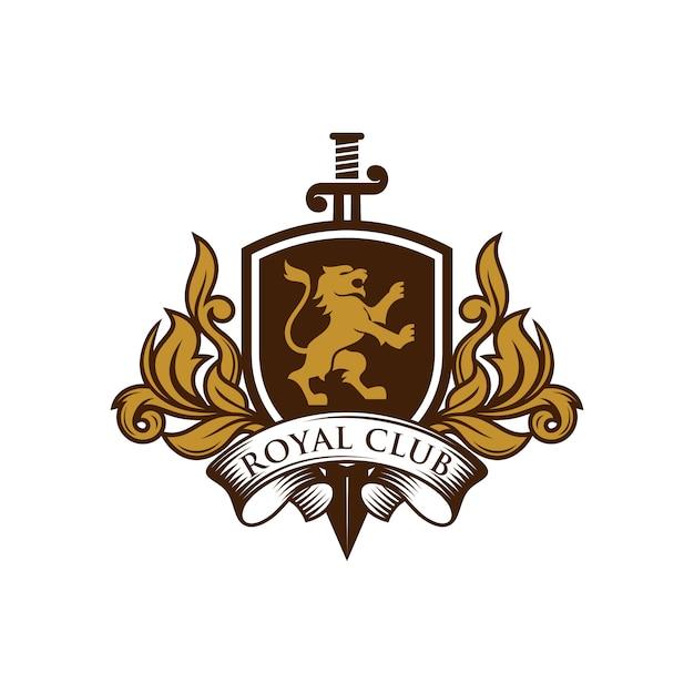 Logotipo da heráldica do leão Vetor Premium