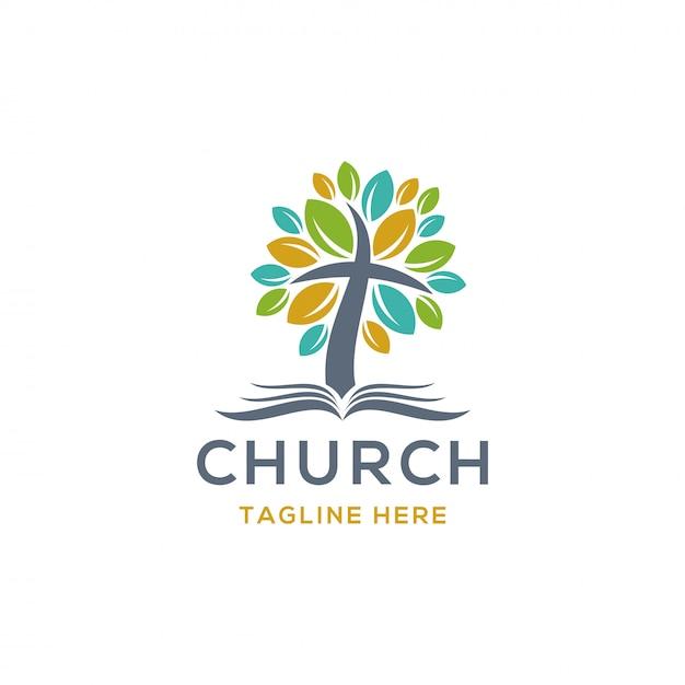 Logotipo da igreja Vetor Premium