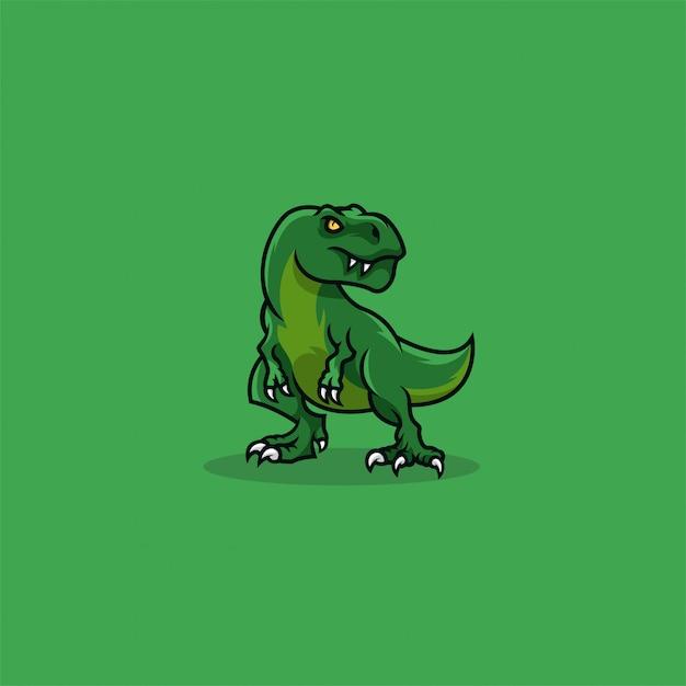 Logotipo da ilustração bonito dos desenhos animados de t rex. Vetor Premium