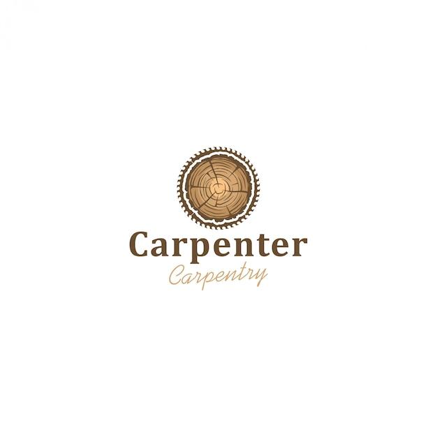 Logotipo da indústria capenter, serra circular para toras de madeira Vetor Premium