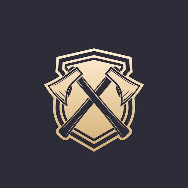 Logotipo da indústria de madeira Vetor Premium