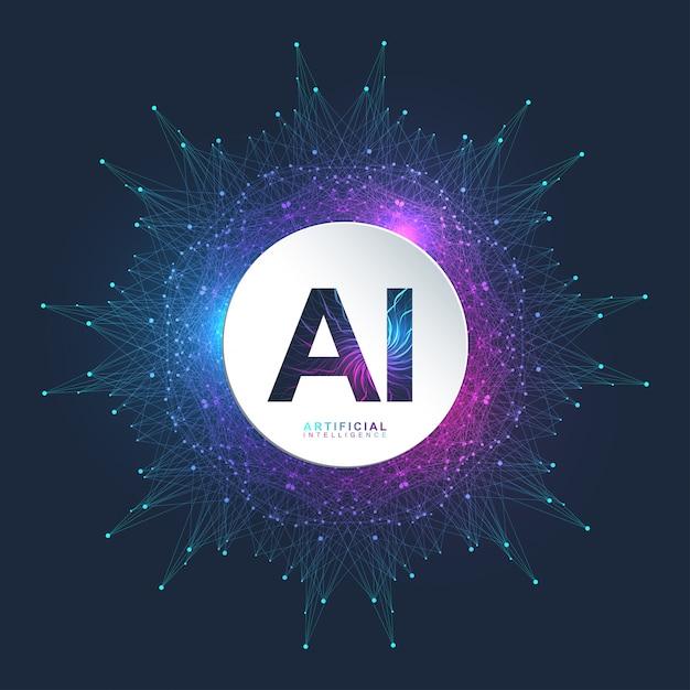Logotipo da inteligência artificial. inteligência artificial e conceito de aprendizado de máquina. símbolo ai. redes neurais e outros conceitos de tecnologias modernas. conceito de ficção científica de tecnologia. Vetor Premium